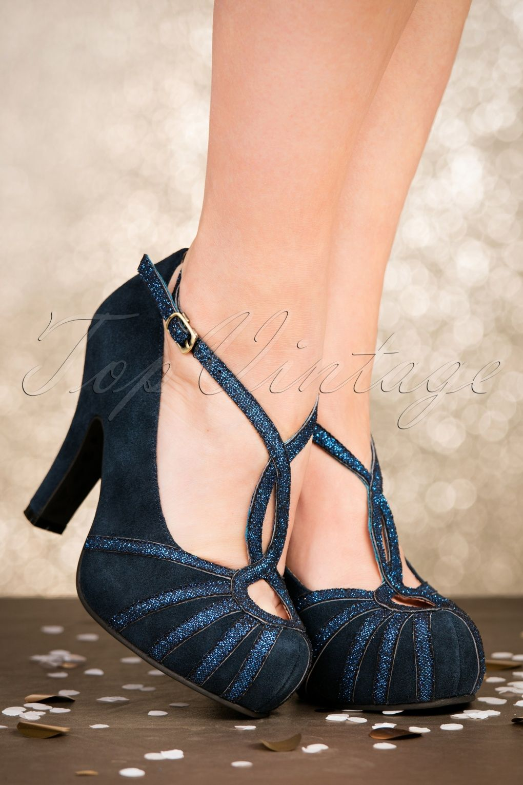 5b7a008a84f 50s Angie Less Bitter More Glitter Suede Pumps in Night Blue | Shoes ...