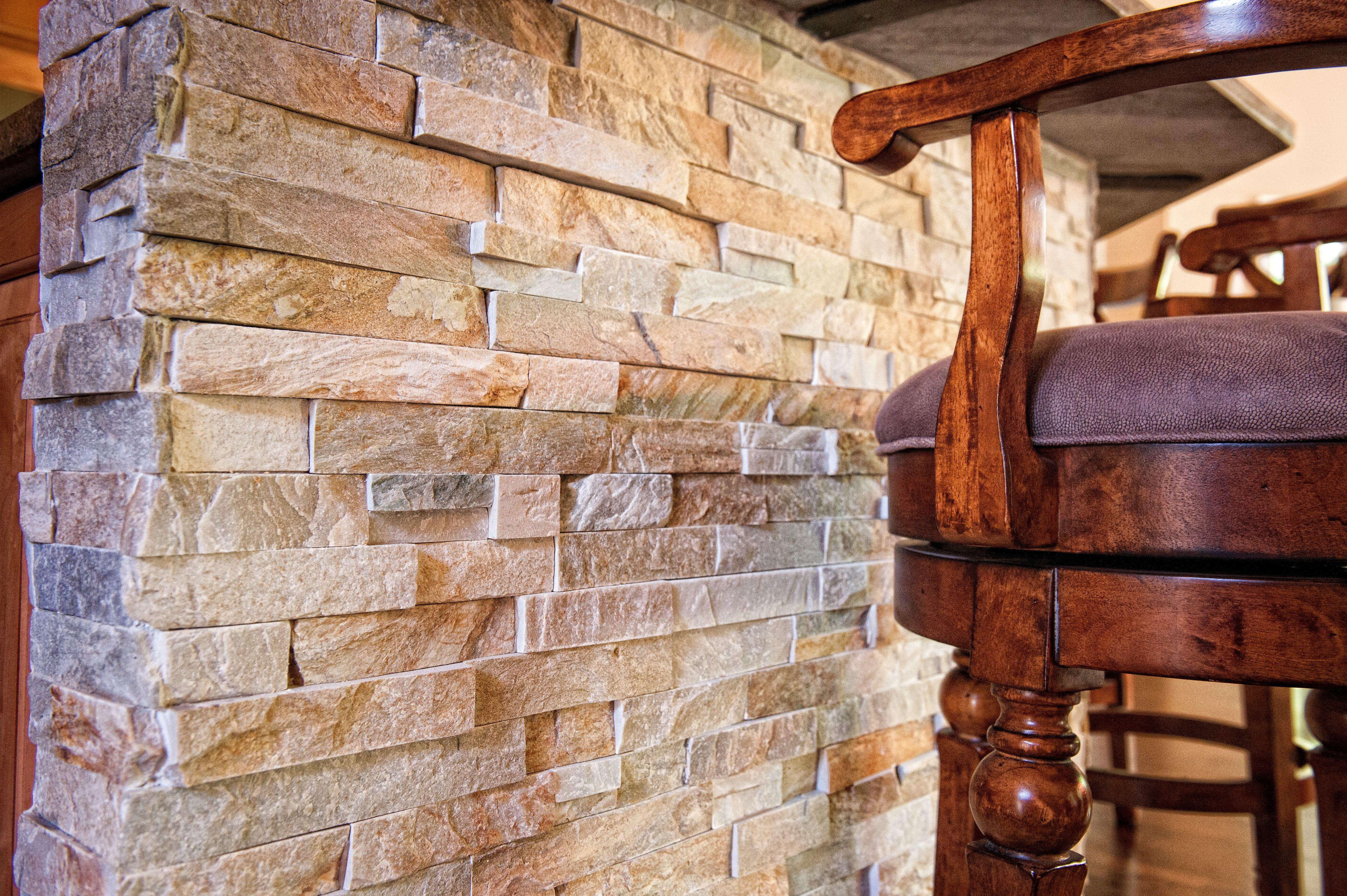 detailed stone on the bar in a kitchen
