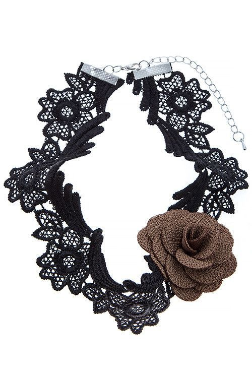 {Accent Floral Lace Choker Necklace}