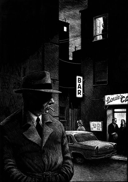 Although this is a drawing, I feel like it is a perfect example of the film noire setting. He is right outside of a bar in an urban setting smoking a cigarette, which screams film noire. He is also alone which makes it a little eerie.