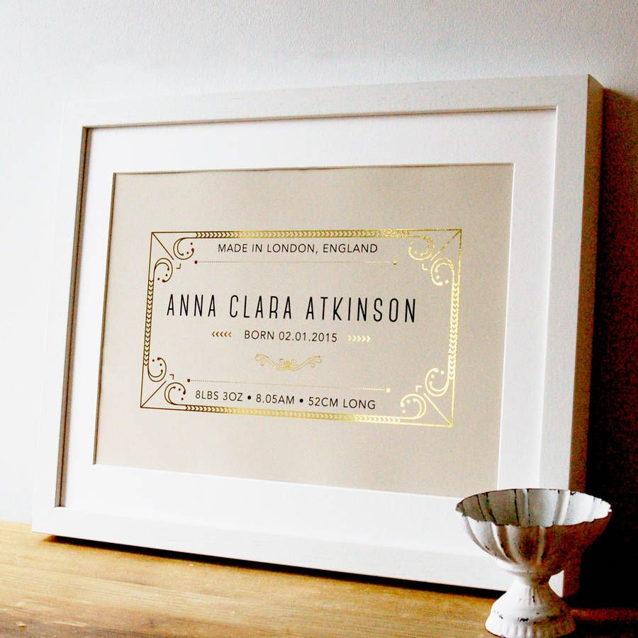 personalised new born baby gift with gold pinterest babies and gift
