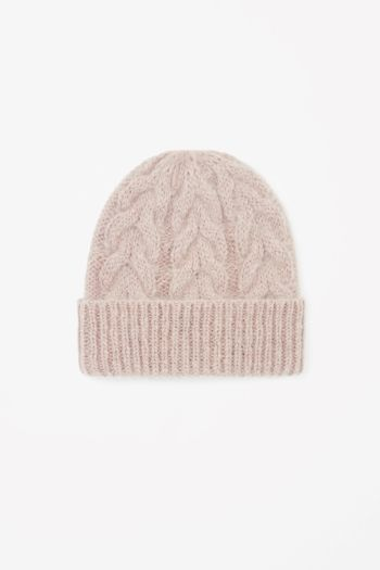 COS Cable-knit hat in Pink Yellowish Light