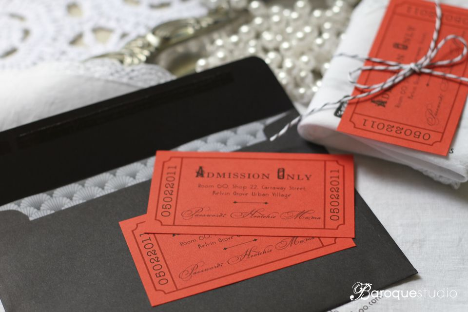 movie ticket stub wedding invitation%0A baroque studio        u    s speakeasy themed party invitation