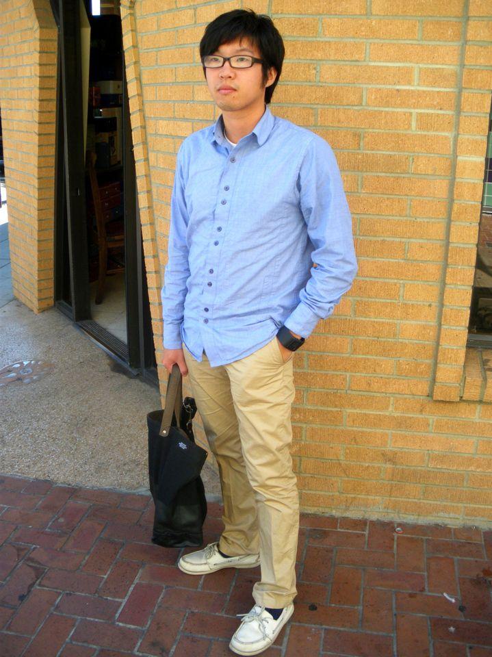 H m blue dress shirt khakis | Blue