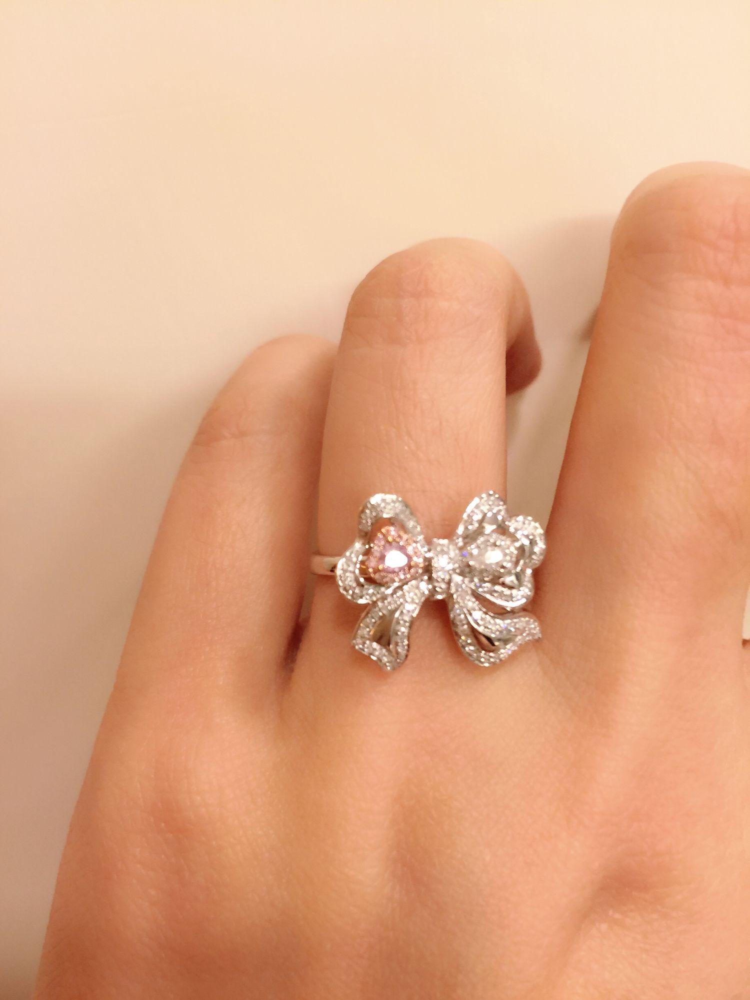 Pink Diamond And Ribbon Ring Set In 18k White Gold: Pink Bow Wedding Ring At Reisefeber.org