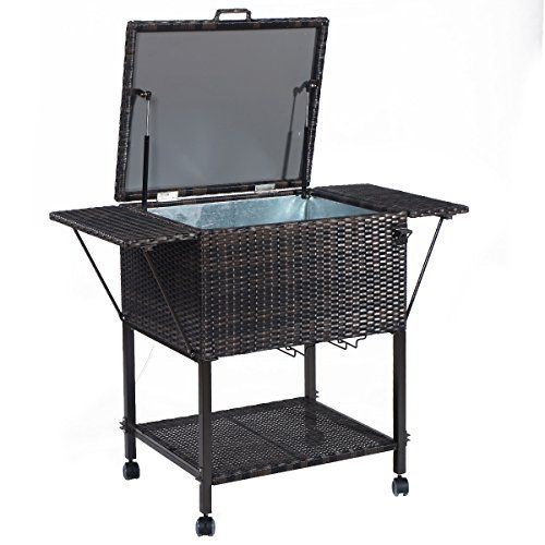 Perfect Giantex Portable Rattan Cooler Cart Trolley Outdoor Patio Pool Party Ice  Drinks Brown