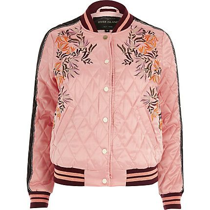 c2792bbd42 Pink floral embroidered quilted bomber jacket | Modern/Retro Style ...