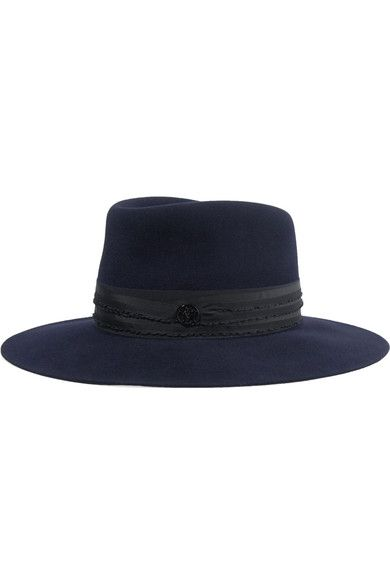 Pina Grosgrain-trimmed Rabbit-blend Felt Fedora - Black Maison Michel
