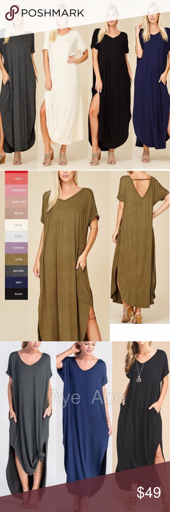 de5b7def54 Oversized loose fit slit long maxi dress pockets Over sized loose fit slit long  maxi dress pockets New boho chic maxi dress.Super comfy.