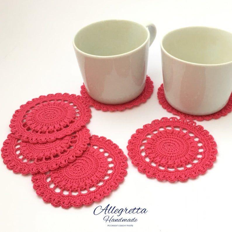 Mug Rug Cotton Crochet Coasters Set