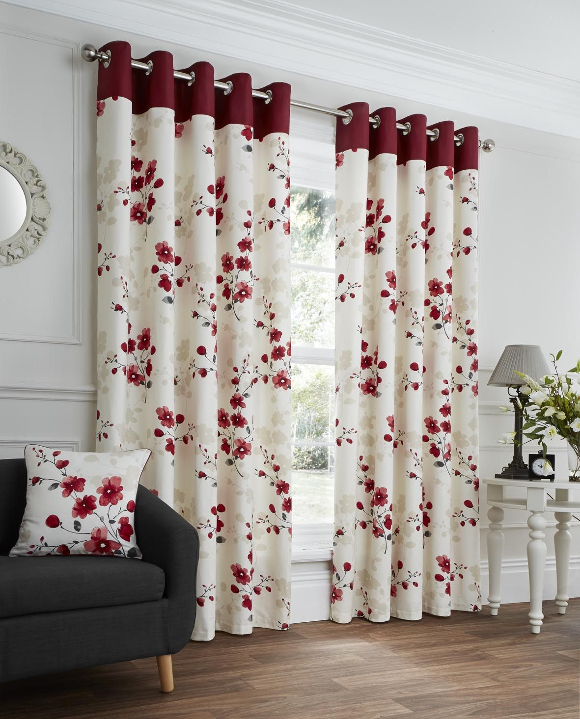 Paige Red Floral Ready Made Eyelet Curtains Ready Made Eyelet