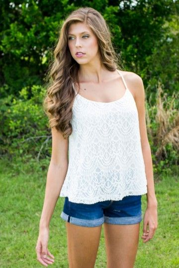 All at Once Top - White Lace Tank Top