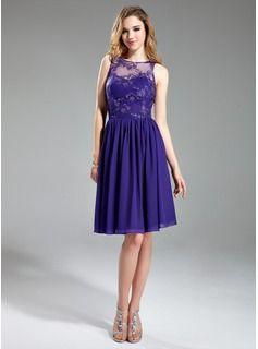 e38f7ba84433 A-Line/Princess Scoop Neck Knee-Length Chiffon Lace Bridesmaid Dress With  Ruffle (007019648) - JJsHouse