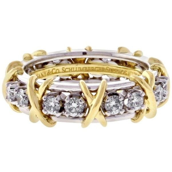 Preowned Tiffany & Co. Schlumberger 16-stone Diamond Gold X Ring (18.900 BRL) ❤ liked on Polyvore featuring jewelry, rings, band rings, multiple, tiffany co rings, diamond band ring, stone ring, 18k yellow gold ring and 18 karat gold ring