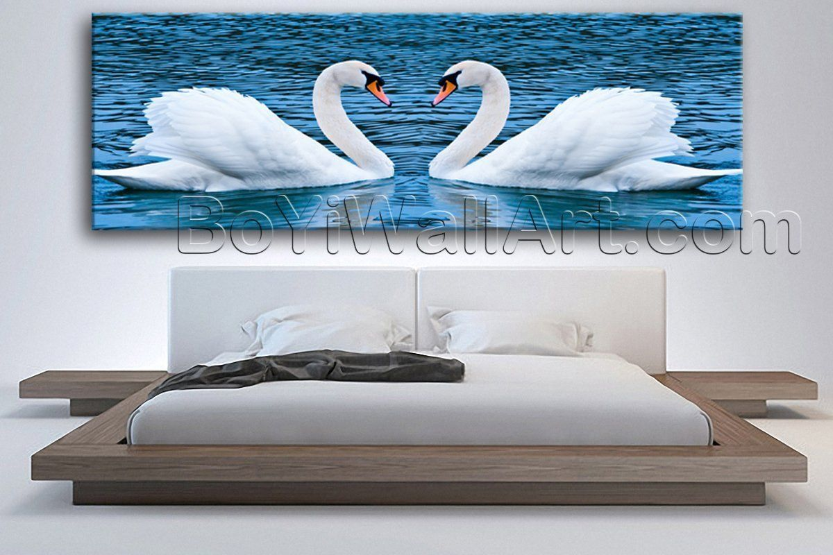 living room art prints%0A Large Swan Love Animal Contemporary On Canvas Wall Art Print Single Piece  Giclee  Large Swan
