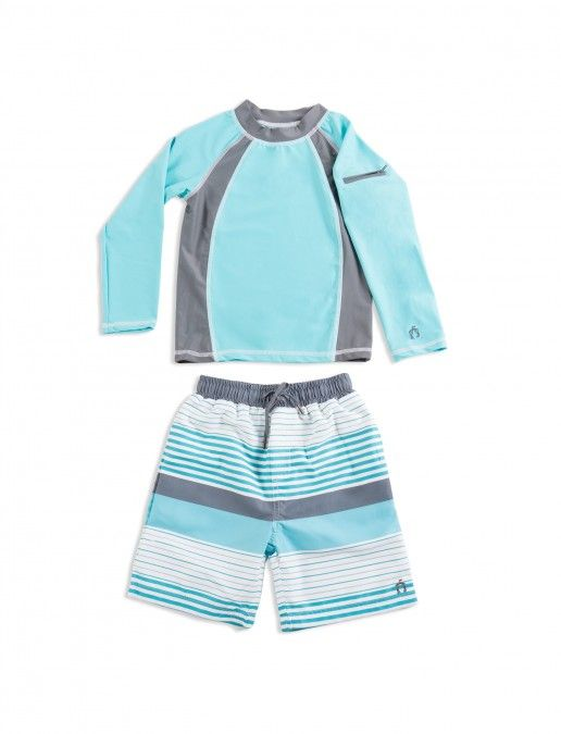 Little Kid, Big Kid Sun Protection Swim Shorts /& Rashguard Set Boys UPF 50