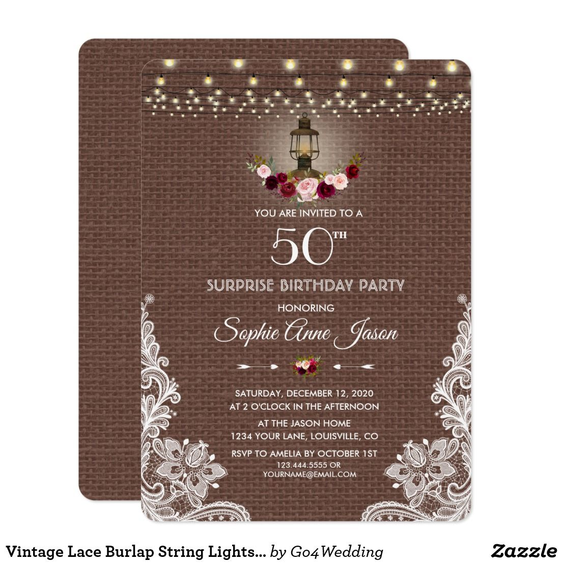 Vintage Lace Burlap String Lights 50th Birthday Card | Invitations ...