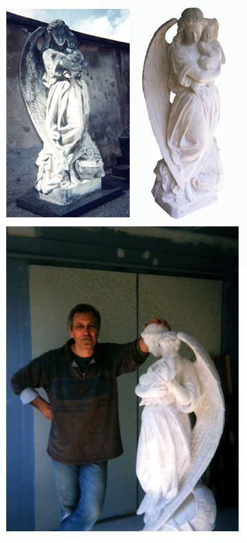 """Lami Gérard - 2000-Réfection de statuaire funéraire """"Ange Diller"""" Cimetière de Préville- Nancy 54 (en collaboration avec Régine Lami)"""