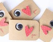 4 Tarjetas de San Valentín mochuelo notas de amor por kraze4paper