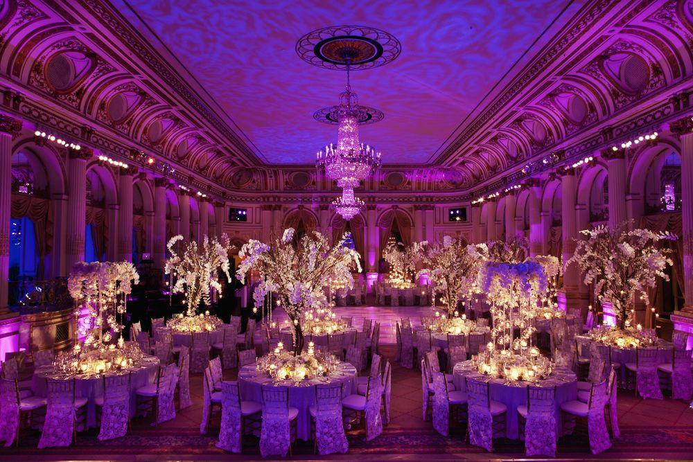 black white purple wedding reception%0A Luxe Ballroom wedding