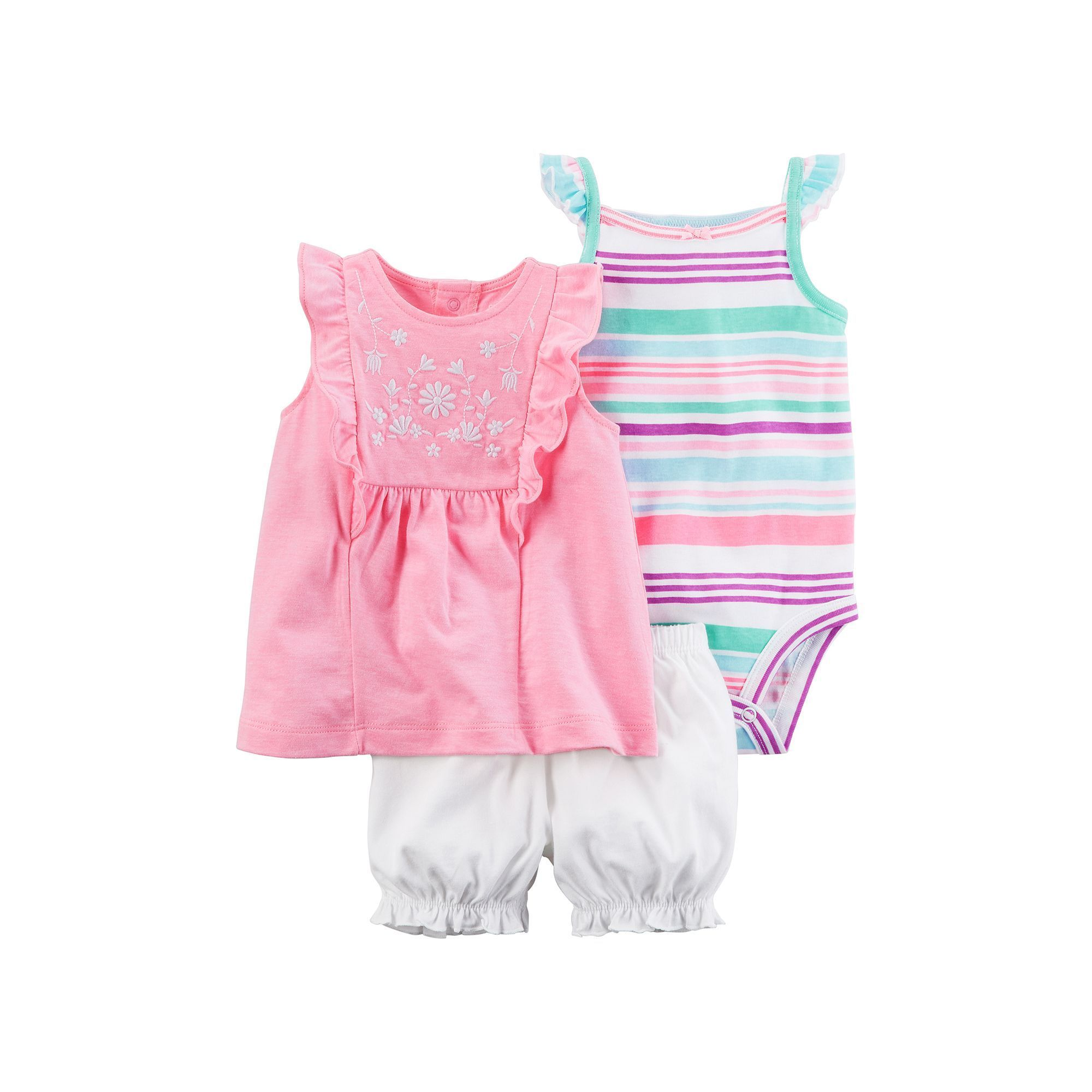 Carters Girls Size Newborn 3 months Pink Blue Embroidered Romper New
