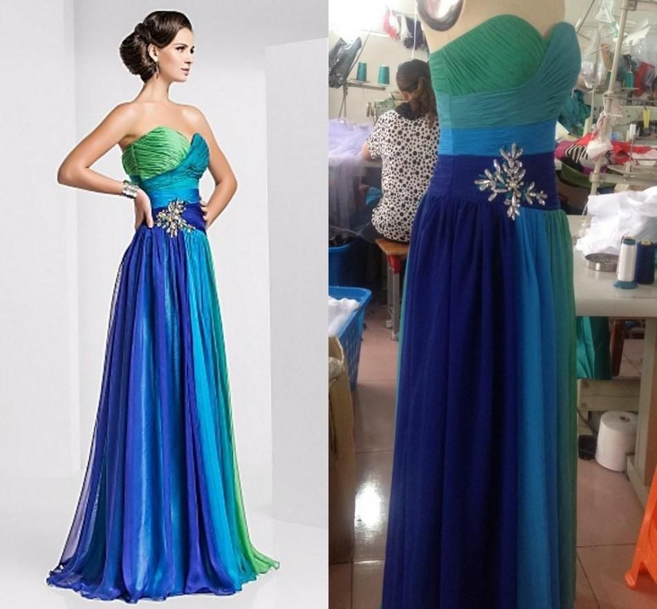 Real image colorful chiffon prom dress crystal beaded cross ruffles