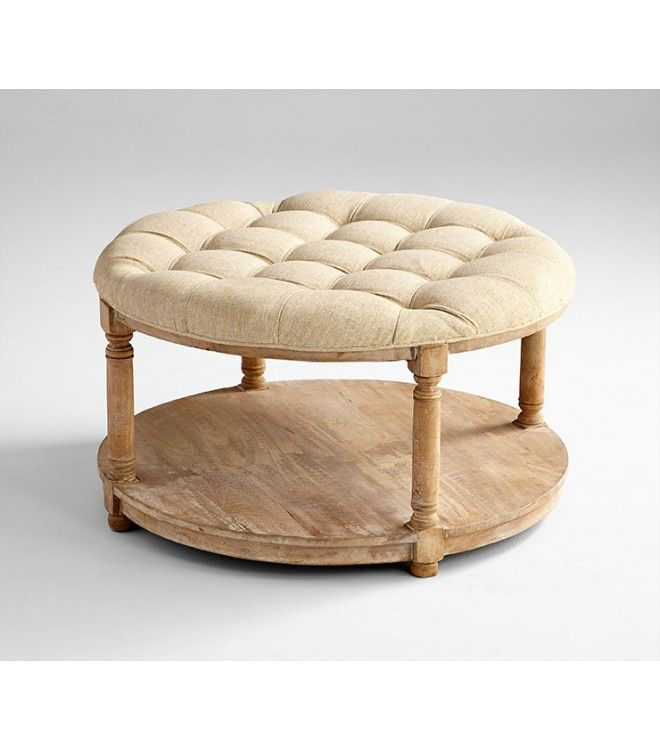 Round Linen Tufted Coffee Table Ottoman