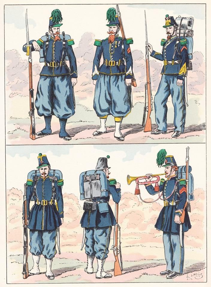 French;Chasseurs a Pied 1854-68 & Chasseurs de Vincennes from Hector Large's Le Costume Militaire Vol III