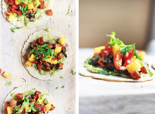 Sweet Potato Mushroom Tacos + Mango Salsa | Fig + Honey