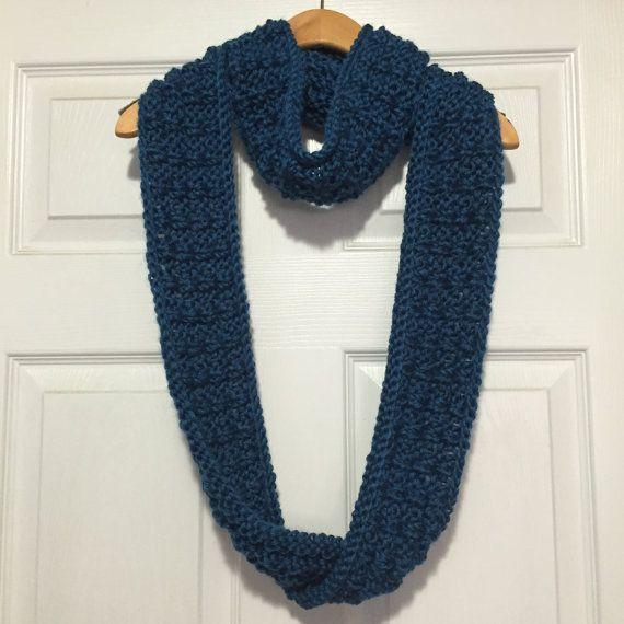 Blue Chunky Knit Long Infinity Scarf by KnitbyTobi on Etsy #scarf #infinityscarf #knit #knitting
