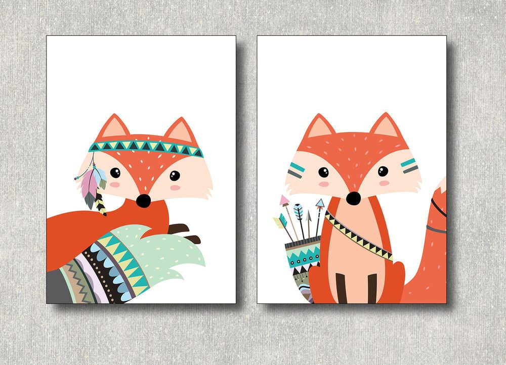 2 Bilder Fuchs Kunstdruck A4 Tier Tribal Poster