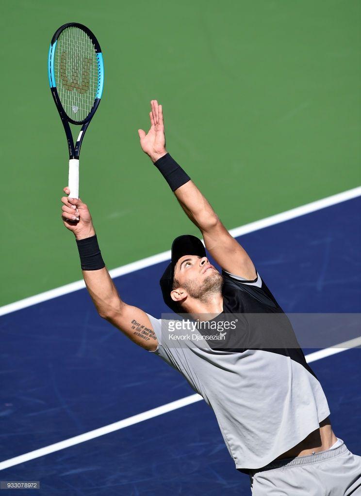 Borna Coric Of Croatia Serves Against Roger Federer Of Switzerland Borna Coric Roger Federer Borna