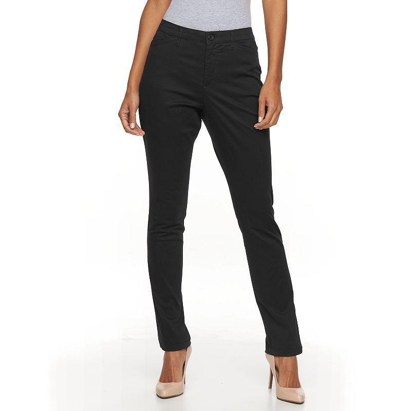 Women's Gloria Vanderbilt Anita Sateen Straight-Leg Pants, Size: 8 - regular, Black