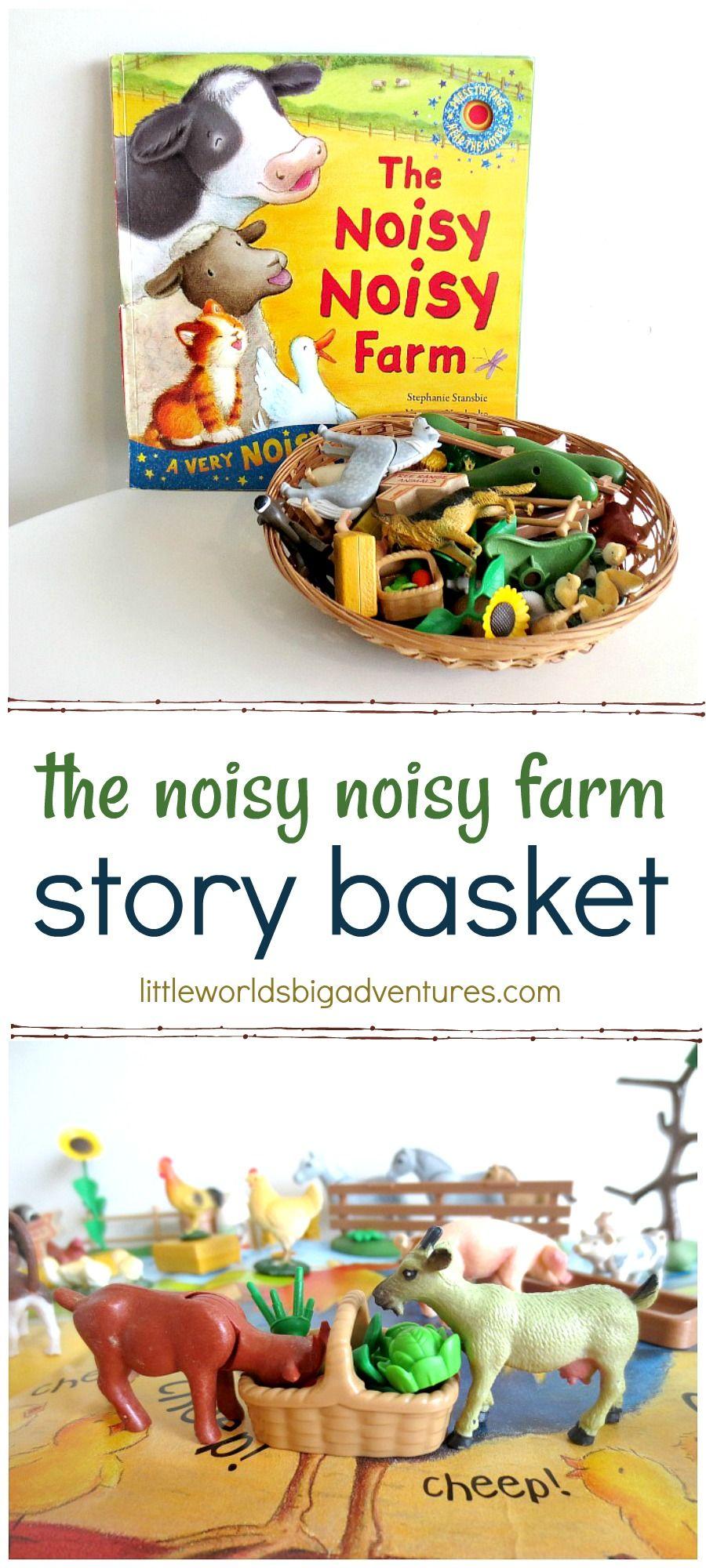 The Noisy Noisy Farm story basket for creative storytelling and play. | Little Worlds Big Adventures #farmlife #storybasket #smallworldplay #childrensbooks #storytelling #storytime #story #preschool #toddler #kidsactivities #play