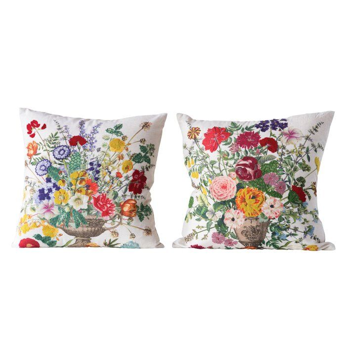 Clarkfield With Embroidered Flowers Throw Pillow Flower Throw Pillows Throw Pillows Pillows