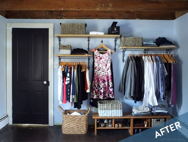 before and after a daring open closet in the bedroom one big rh pinterest ch