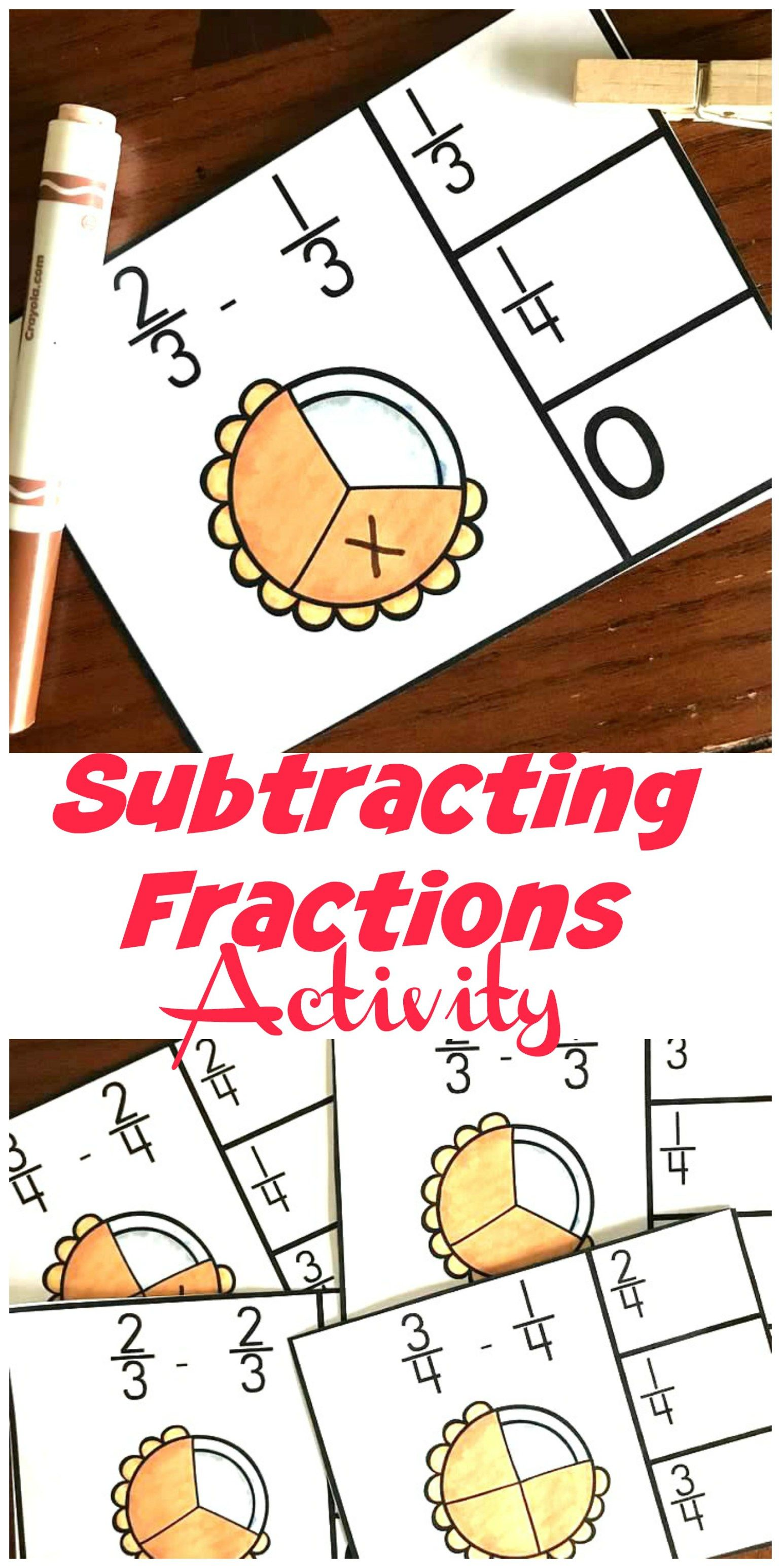 Free Clip Cards For Subtracting Fractions With Common