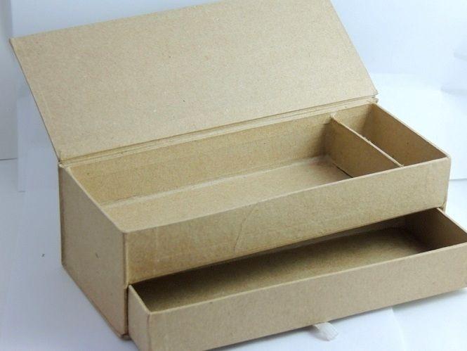 Modèles de bricolage, Boite à crayons en carton, 2 tiroirs est une - creer une maison en 3d