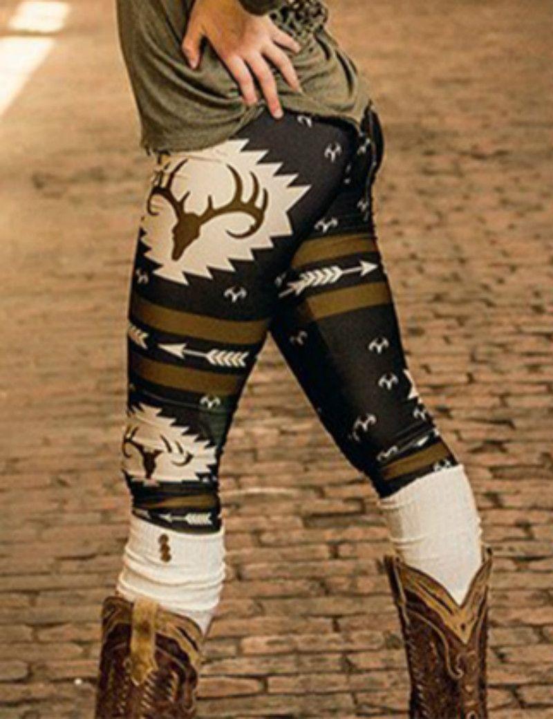 BONJEAN 3D 크리스마스 사슴 인쇄 레깅스 캐주얼 슬림 연필 바지 패션 Leggins 여성 레깅스 섹시한 엉덩이 밀어 바지