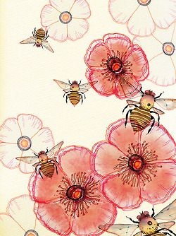Bee and poppies. http://perfectodia.blogspot.com.es/