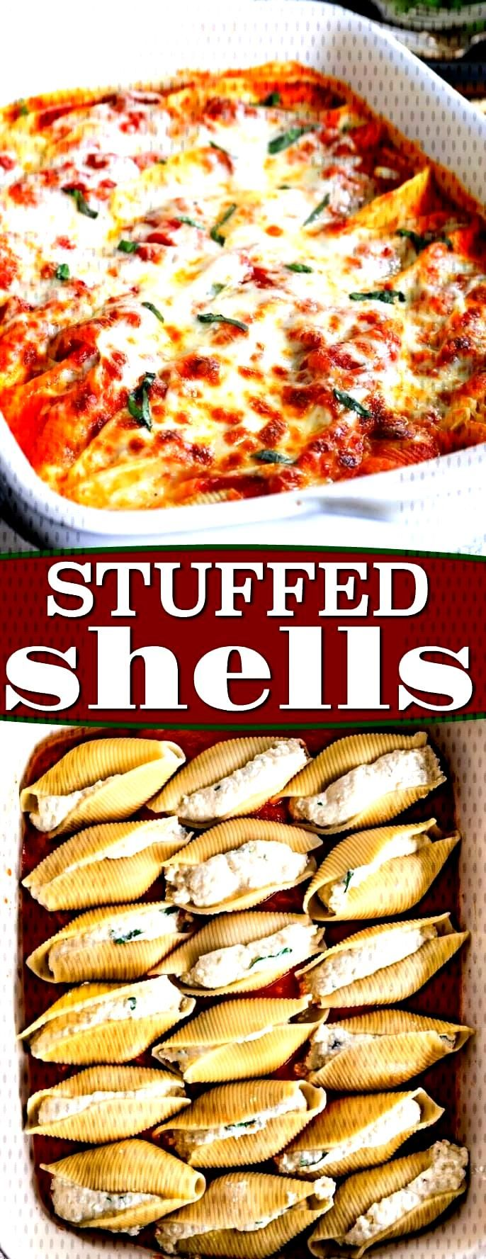 Delicious Stuffed Shells are the perfect easy, weeknight dinner. Jumbo pasta shells are stuffed wit
