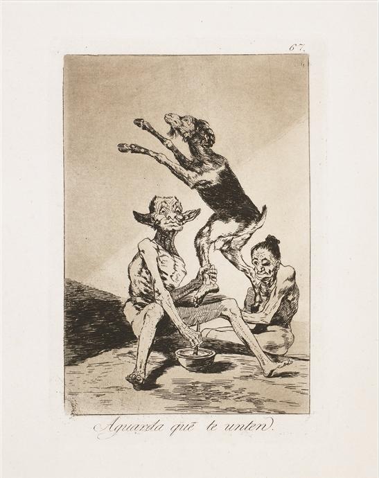"""""""Aguarda que te Unten"""" (1799), Francisco Goya. - Park West Gallery"""