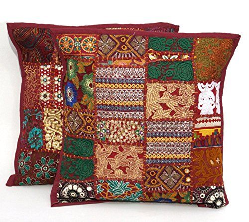 2pc ethnic sari patchwork pillow cover 17x17 embroidered cushion red rh pinterest com