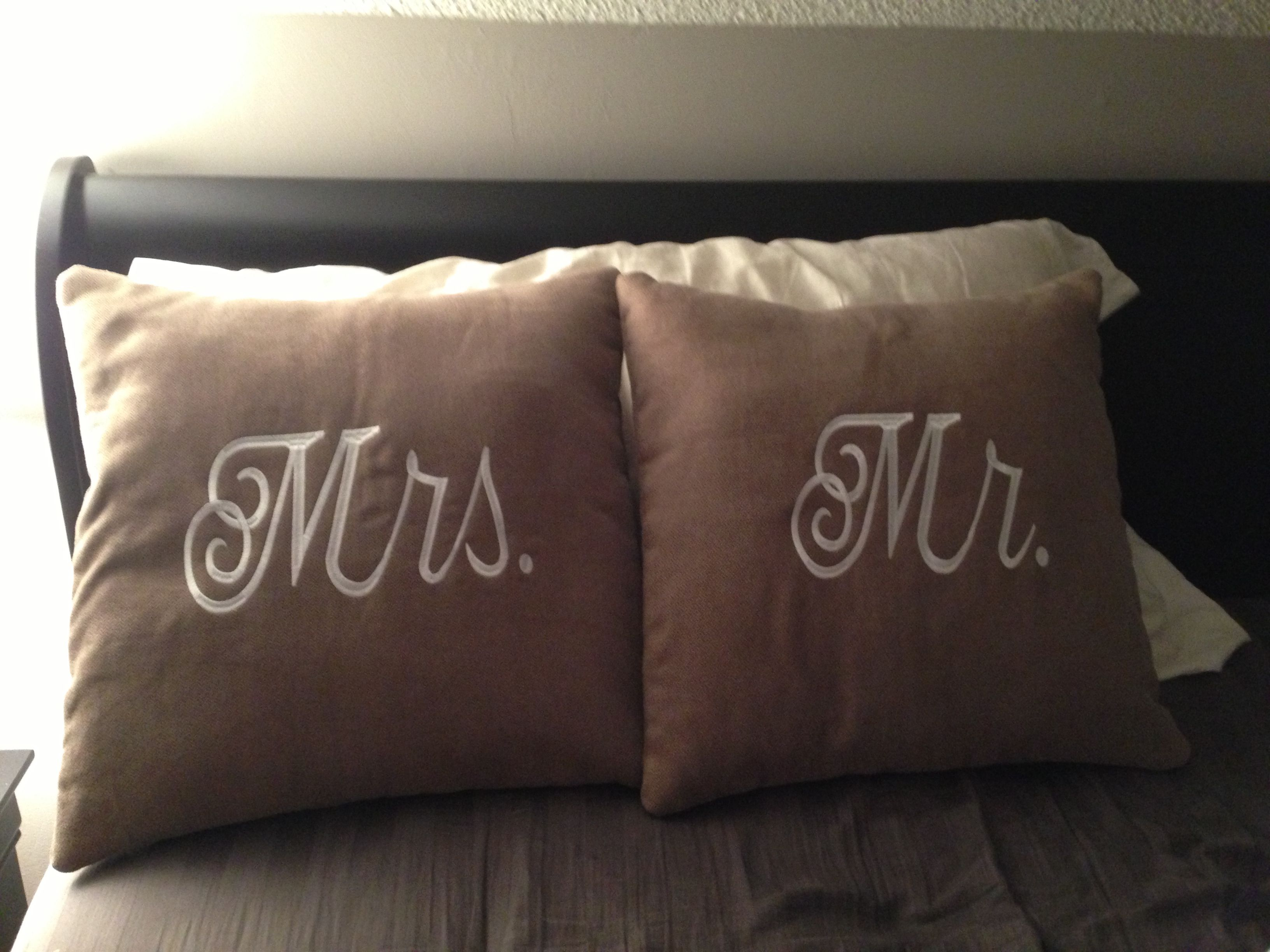 Mr. & Mrs. Pillows. Great wedding gift. I made these for my girlfriend's wedding gift. They turned out great ! #diy #wedding