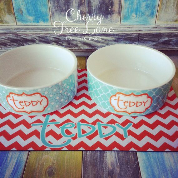 Personalized Pet Food And Water Bowls Dog Bowl Monogram Your Pet