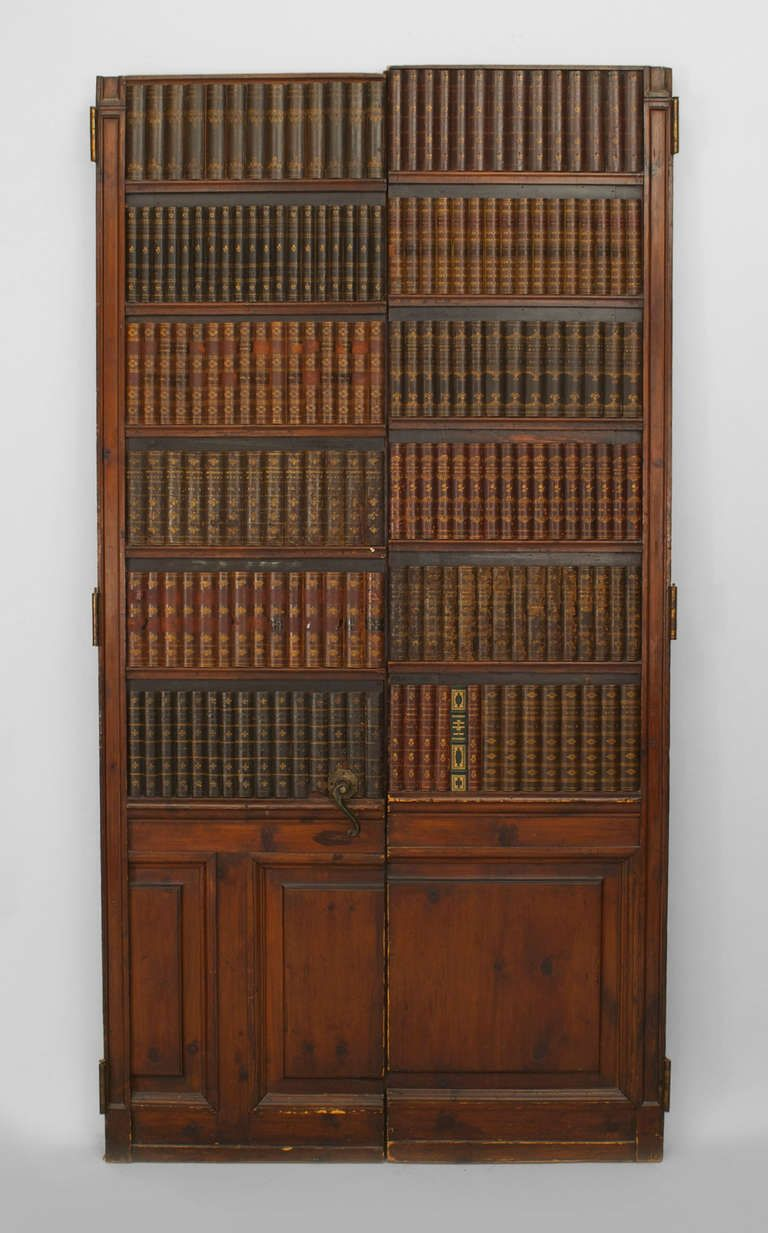 Pair Of 19th Century English Faux Bookshelf Doors