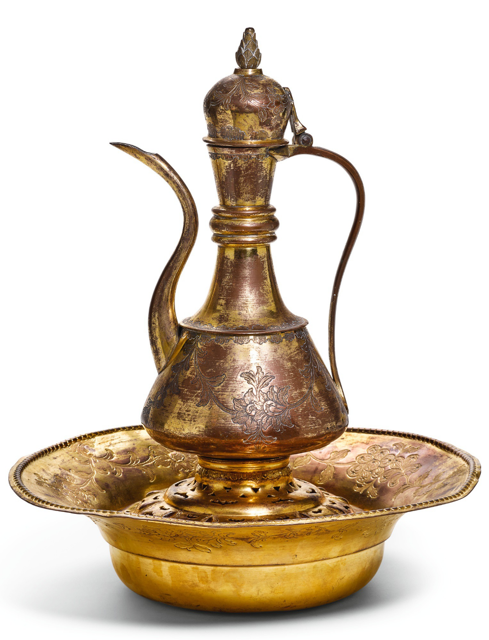 An Ottoman Gilt Copper Tombak Lidded Ewer With Associated Basin And Filter Turkey 18th Century Arts Of The Islamic Wo Islamic World Gilt Cultural Crafts