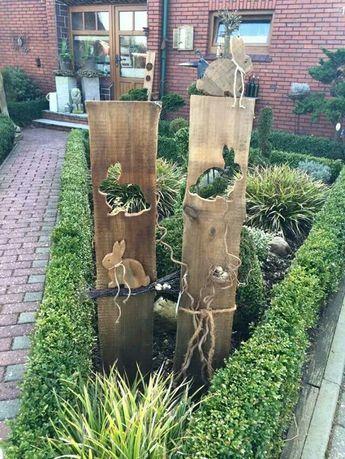 Gartenstelen basteln Deko Garten Selber Machen Holz kunstrasen