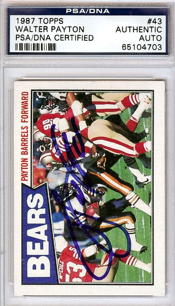 Walter Payton Autographed 1987 Topps Card PSA/DNA #65104703