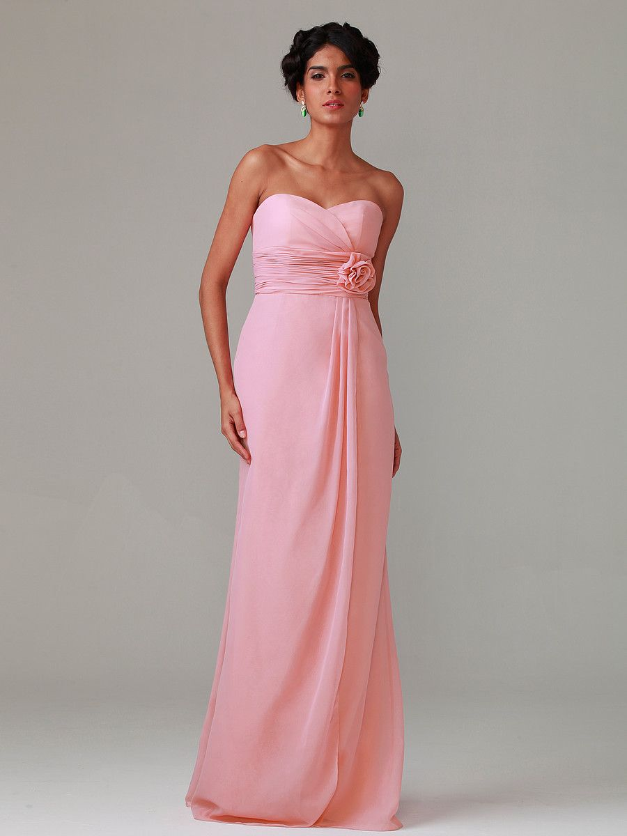 Strapless Chiffon Dress With Flowers; Color: English Rose; Sizes ...